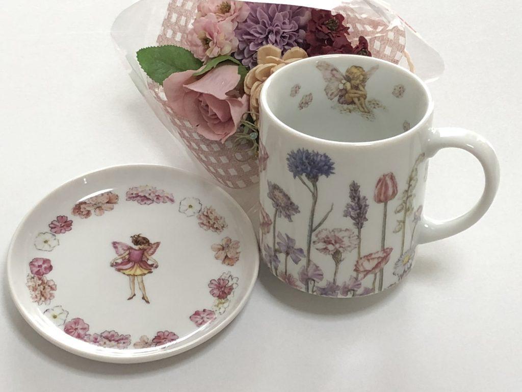 ポーセラーツマグカップ&小皿